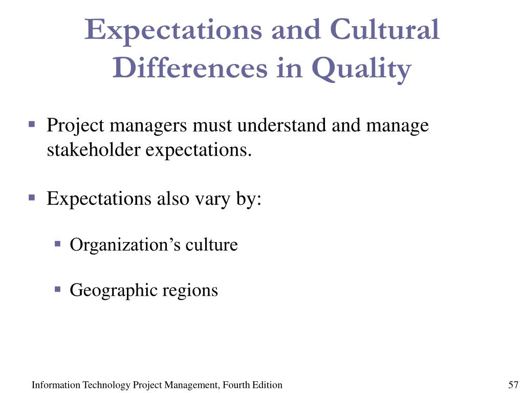 Expectations and Cultural Differences in Quality
