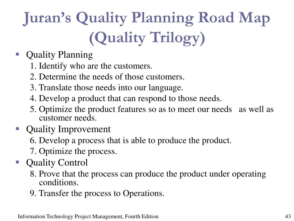 Juran's Quality Planning Road Map (Quality Trilogy)