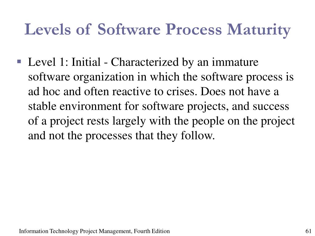 Levels of Software Process Maturity