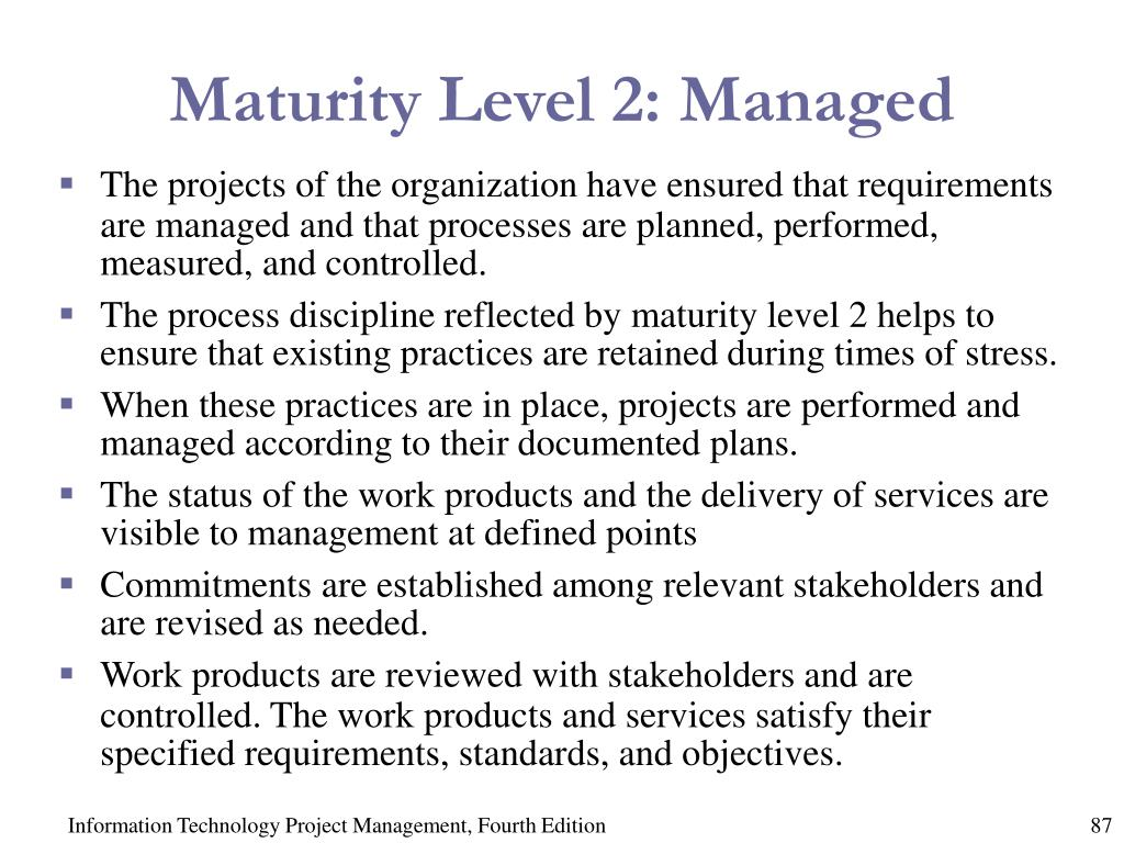 Maturity Level 2: Managed