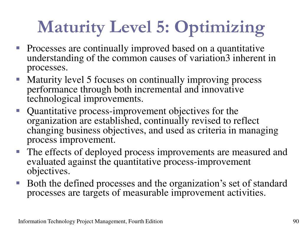 Maturity Level 5: Optimizing
