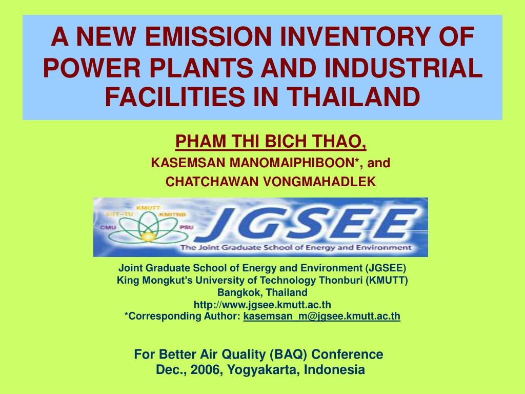 a new emission inventory of power plants and industrial facilities in thailand l.