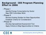 background cee program planning effort in 2006