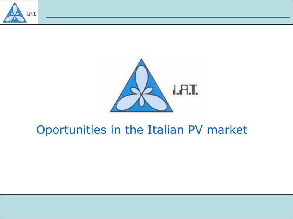 oportunities in the italian pv market l.
