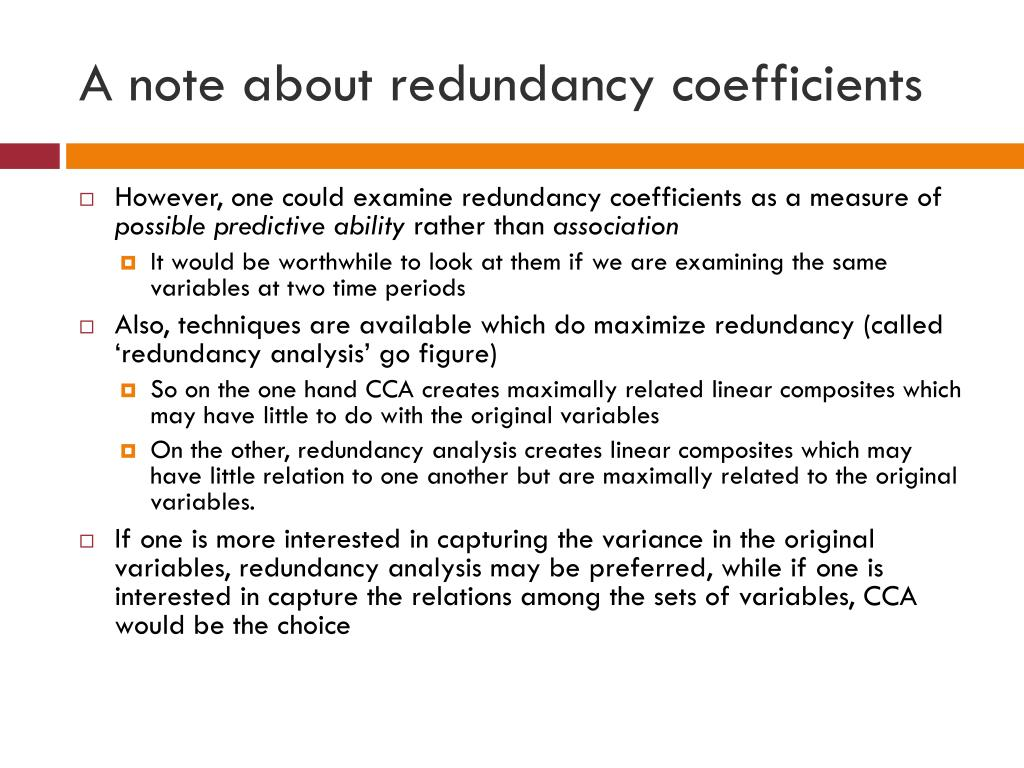 A note about redundancy coefficients