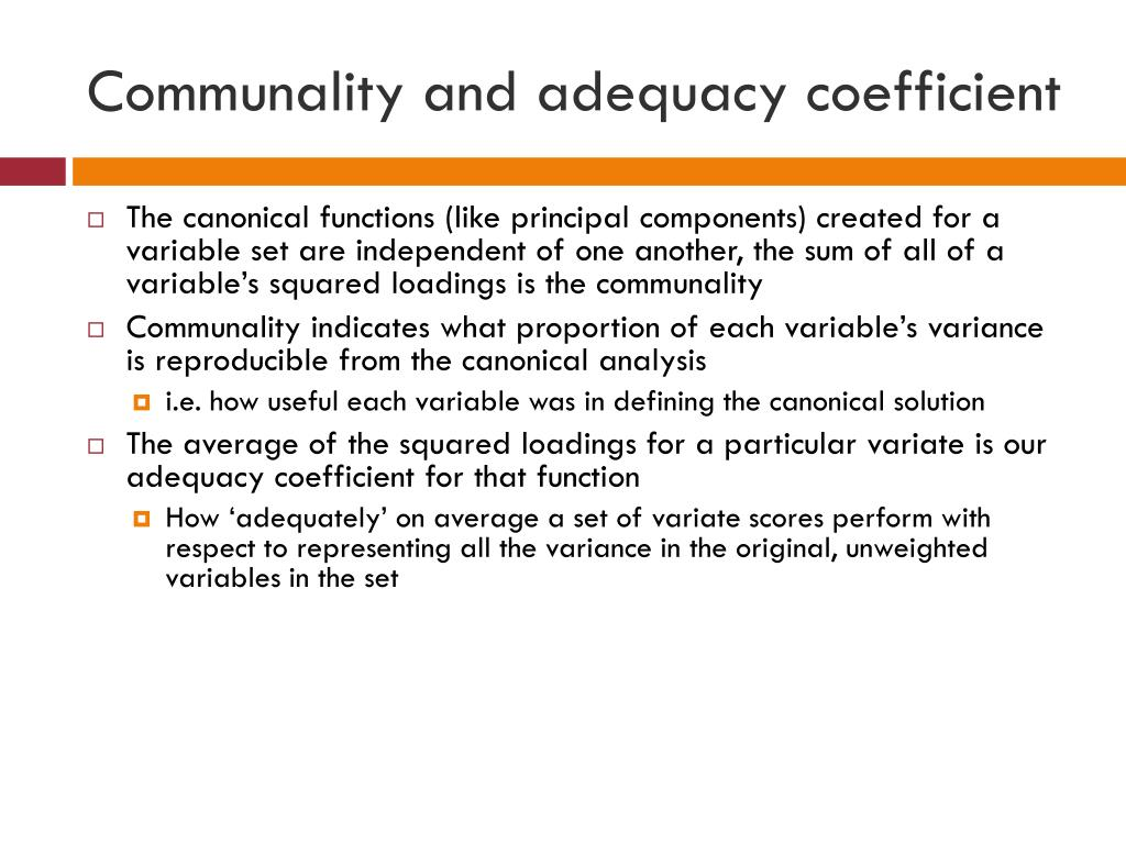 Communality and adequacy coefficient