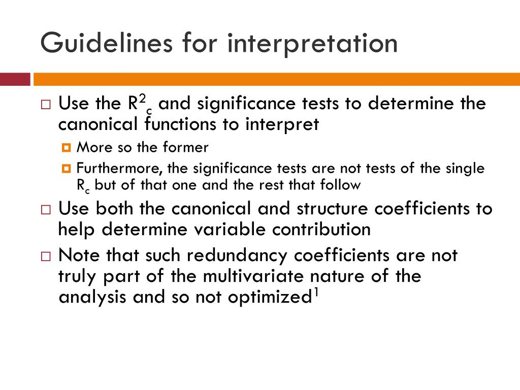 Guidelines for interpretation