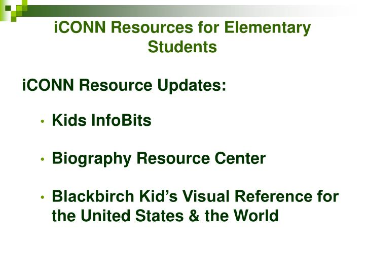 Iconn resources for elementary students