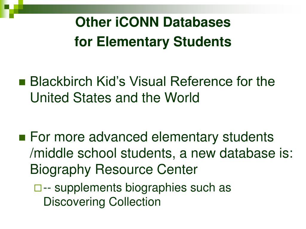 Other iCONN Databases