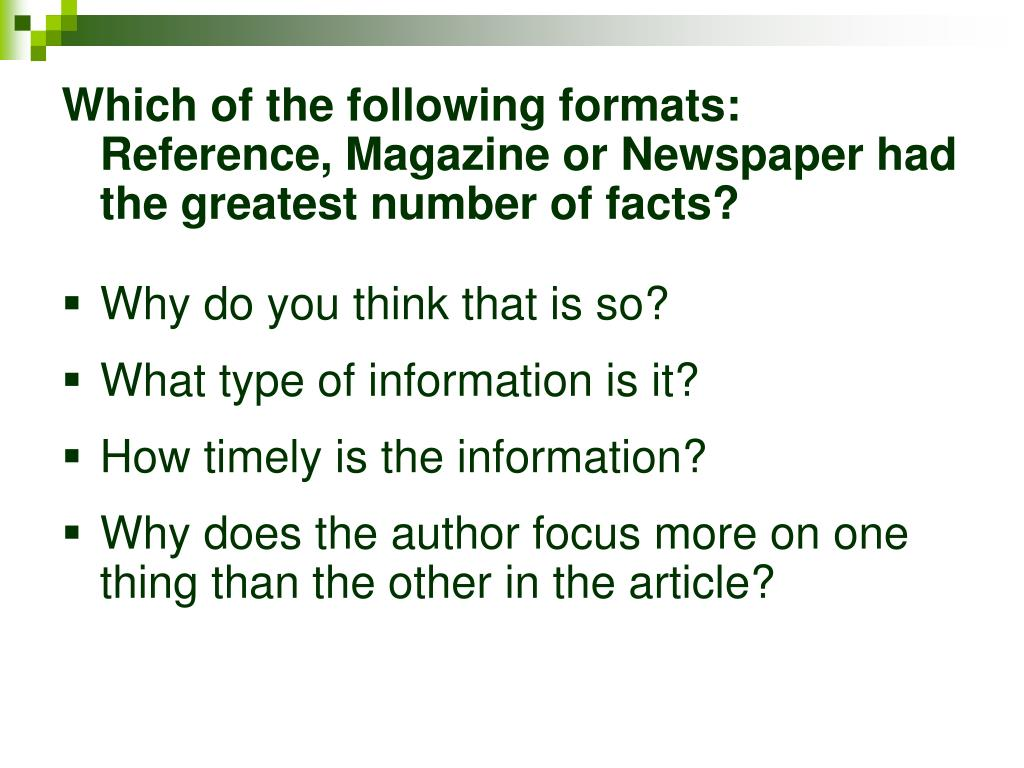 Which of the following formats:     Reference, Magazine or Newspaper had the greatest number of facts?