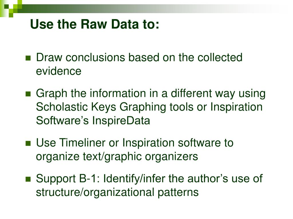 Use the Raw Data to: