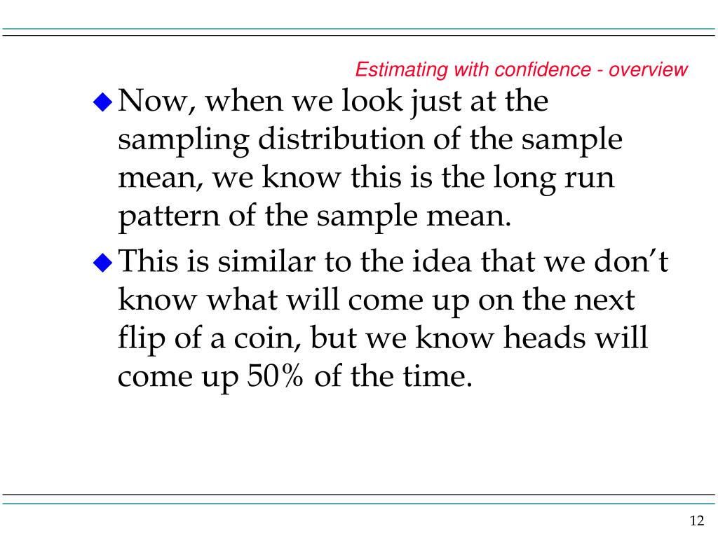 Estimating with confidence - overview