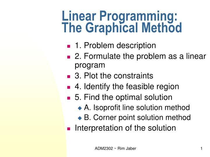 linear programming the graphical method n.
