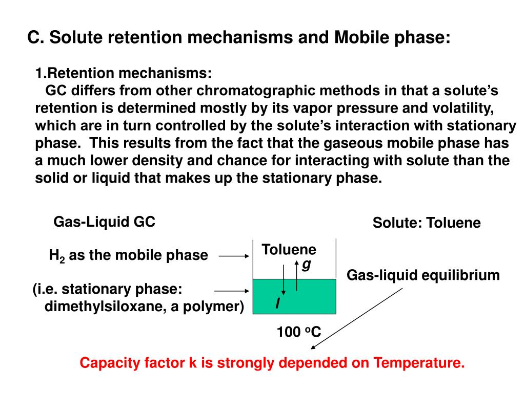 C. Solute retention mechanisms and Mobile phase: