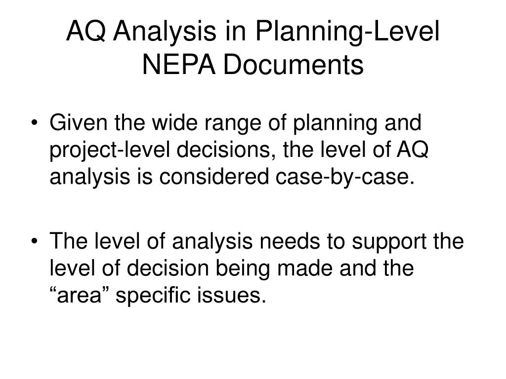 AQ Analysis in Planning-Level