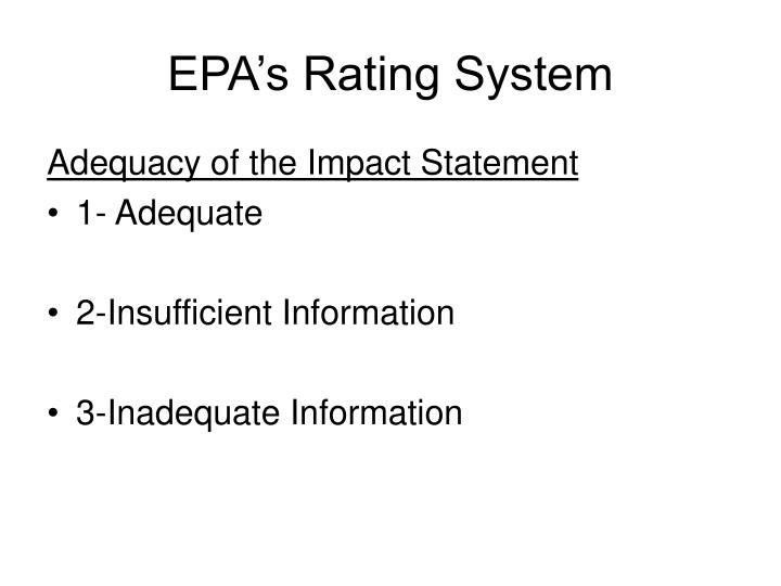 Epa s rating system