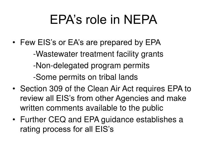 Epa s role in nepa