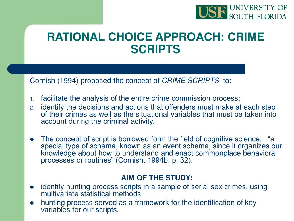 RATIONAL CHOICE APPROACH: CRIME SCRIPTS