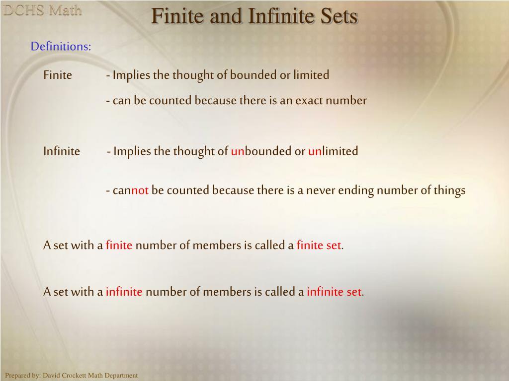 Finite and Infinite Sets