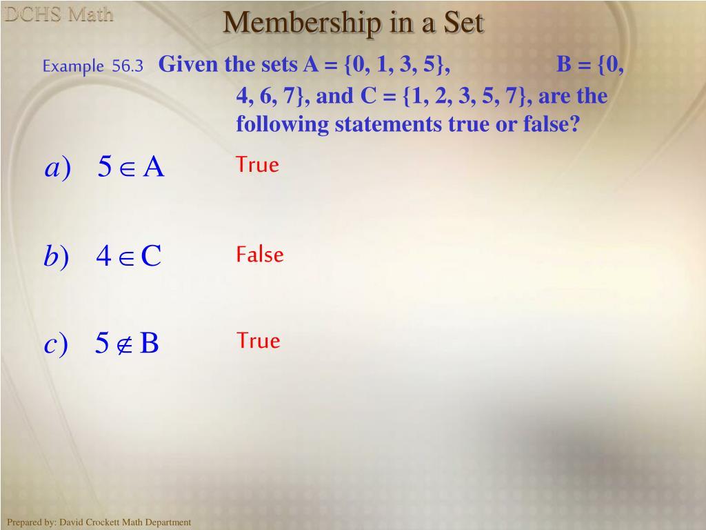 Membership in a Set