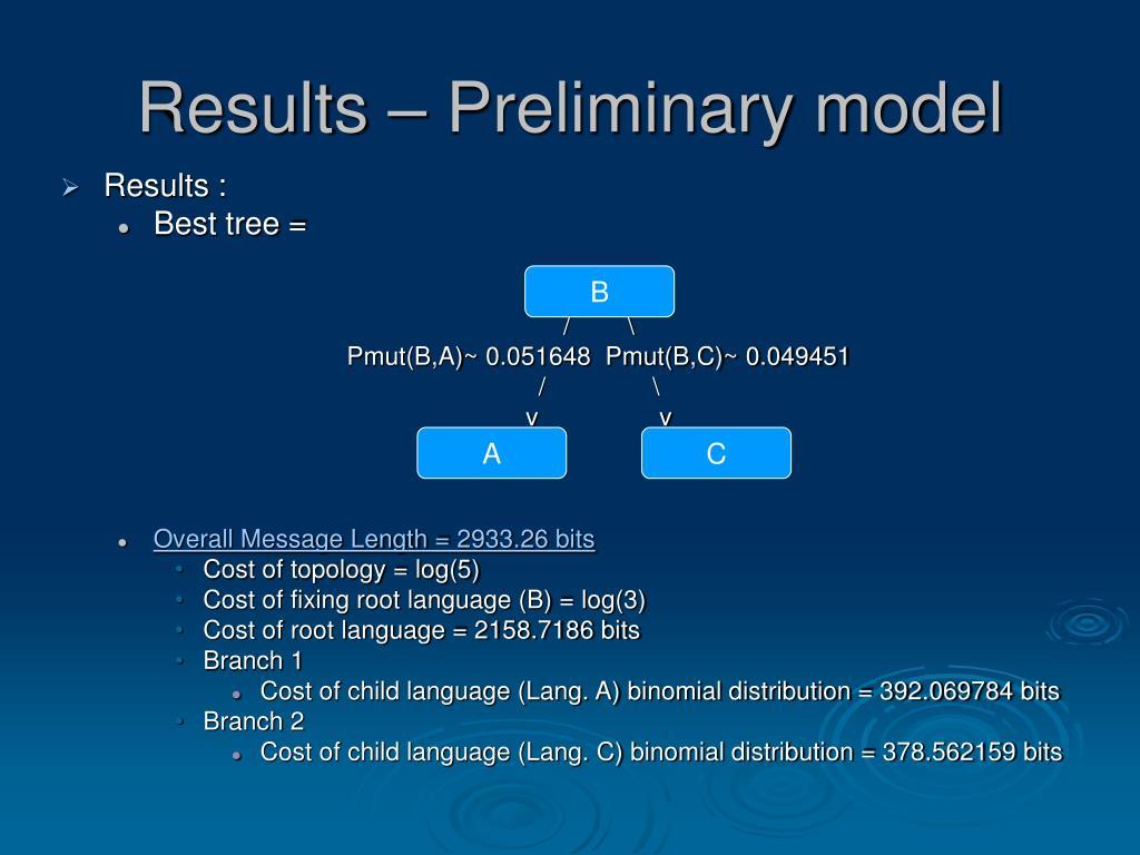 Results – Preliminary model
