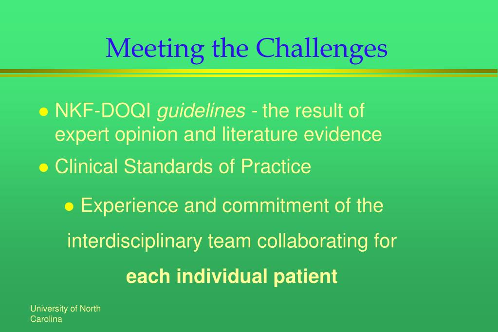 Meeting the Challenges