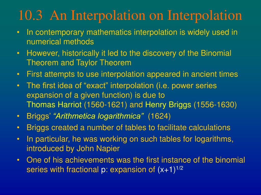 10.3  An Interpolation on Interpolation