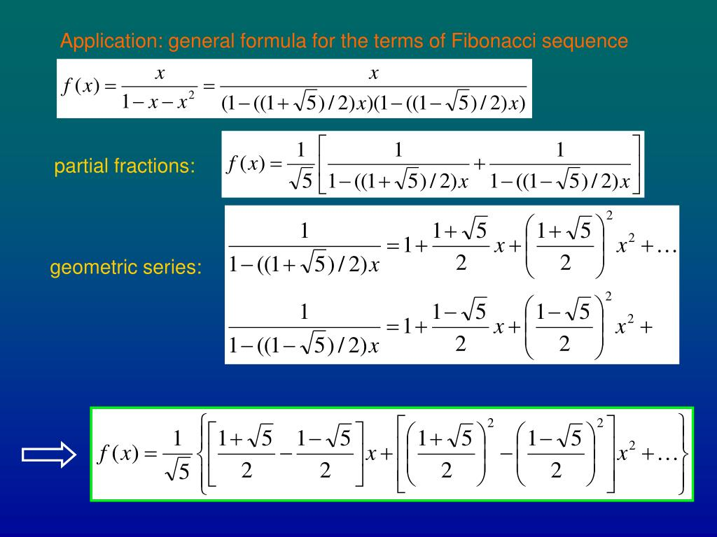 Application: general formula for the terms of Fibonacci sequence