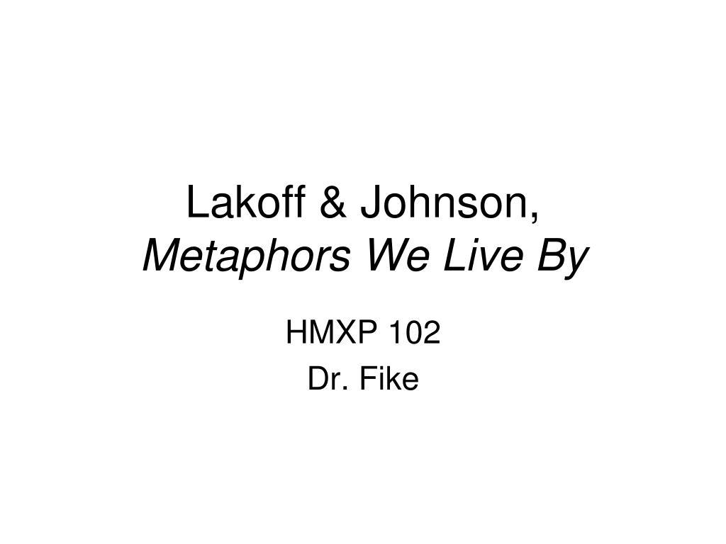 lakoff johnson metaphors we live by l.