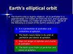 earth s elliptical orbit