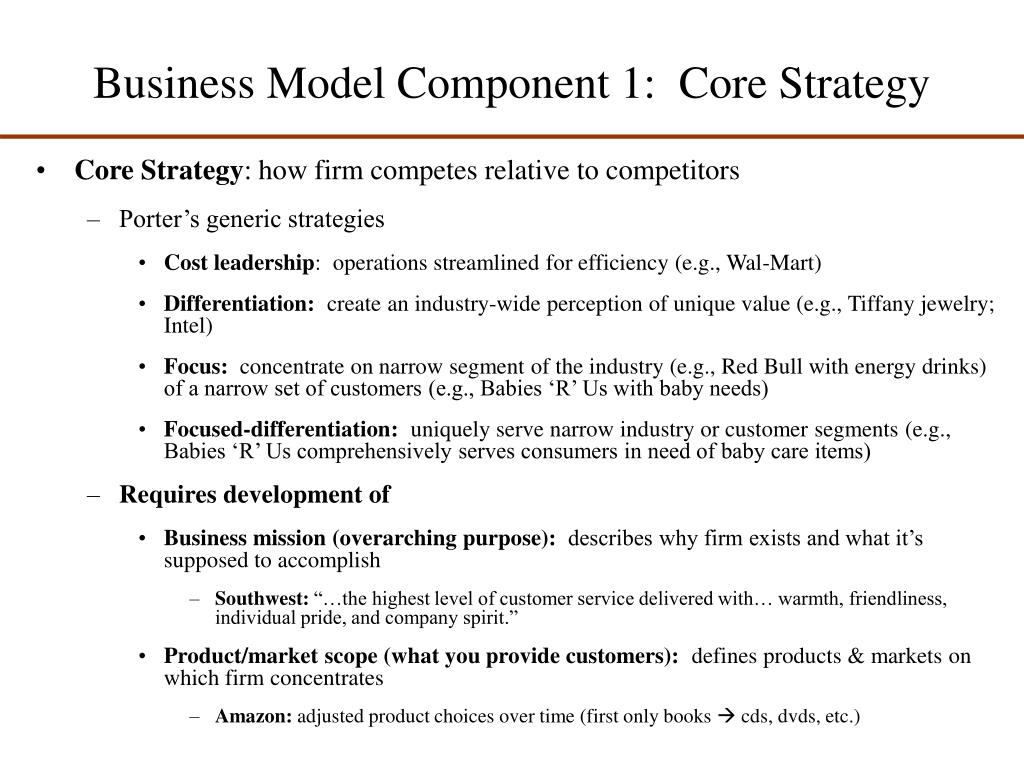 Business Model Component 1:  Core Strategy