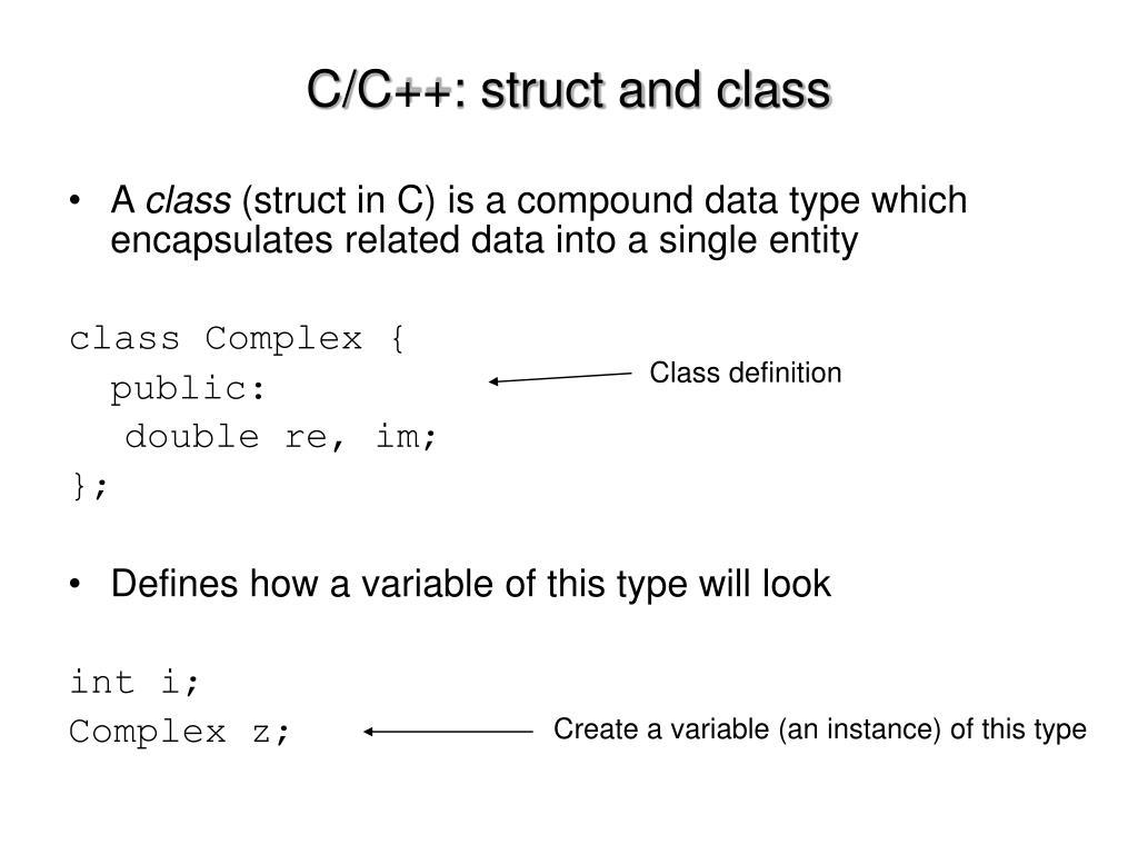 C/C++: struct and class