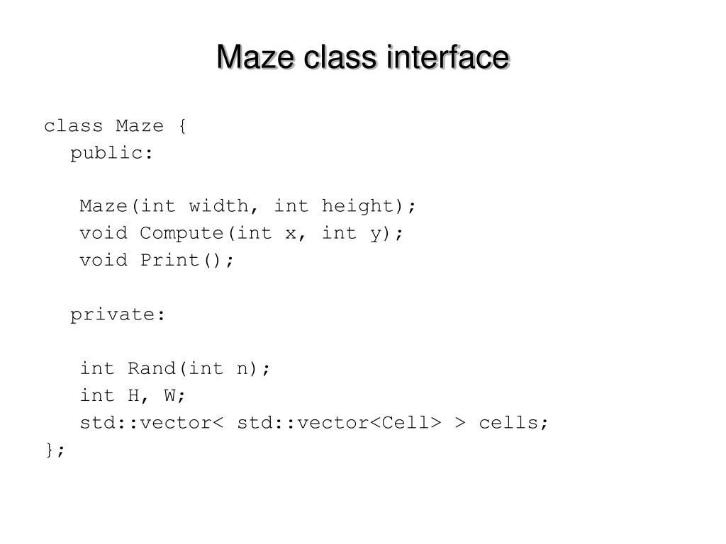 Maze class interface
