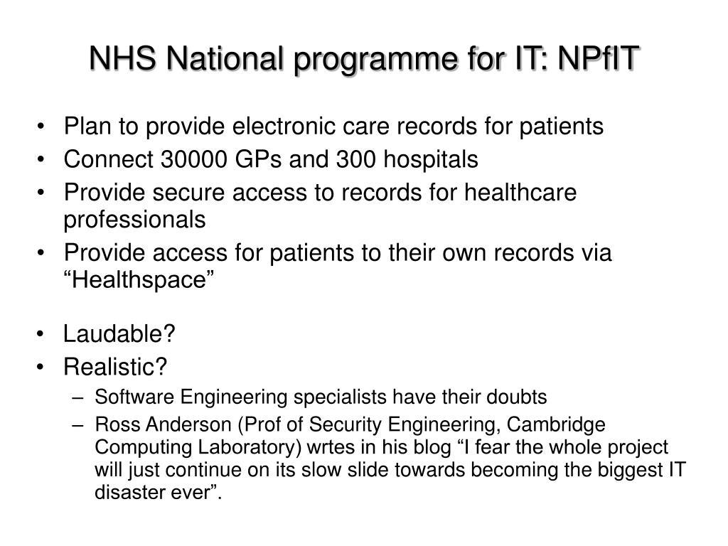 NHS National programme for IT: NPfIT