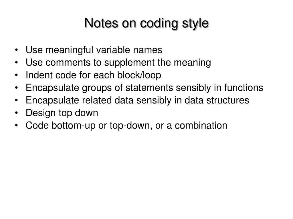 Notes on coding style
