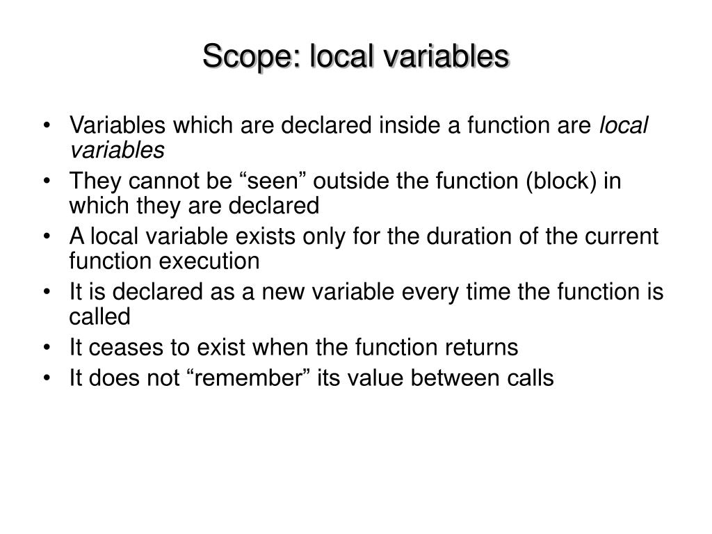 Scope: local variables