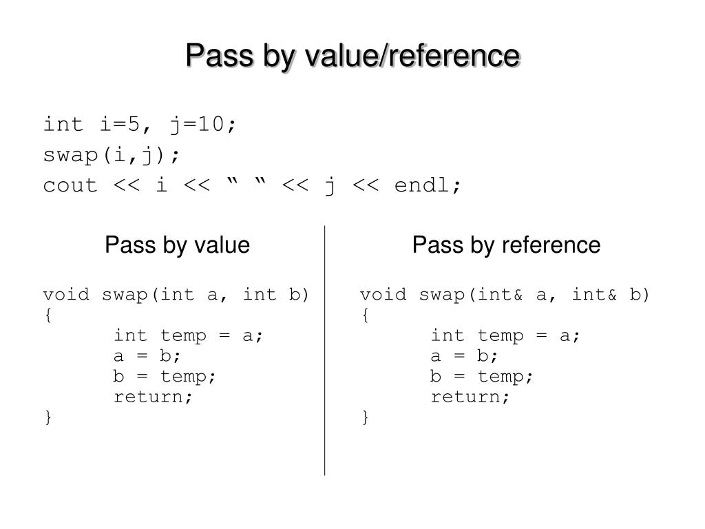 Pass by value/reference