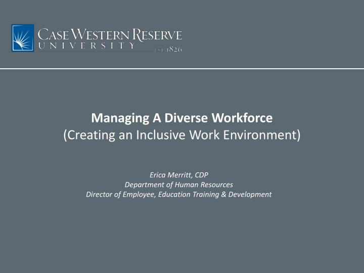 Managing a diverse workforce creating an inclusive work environment