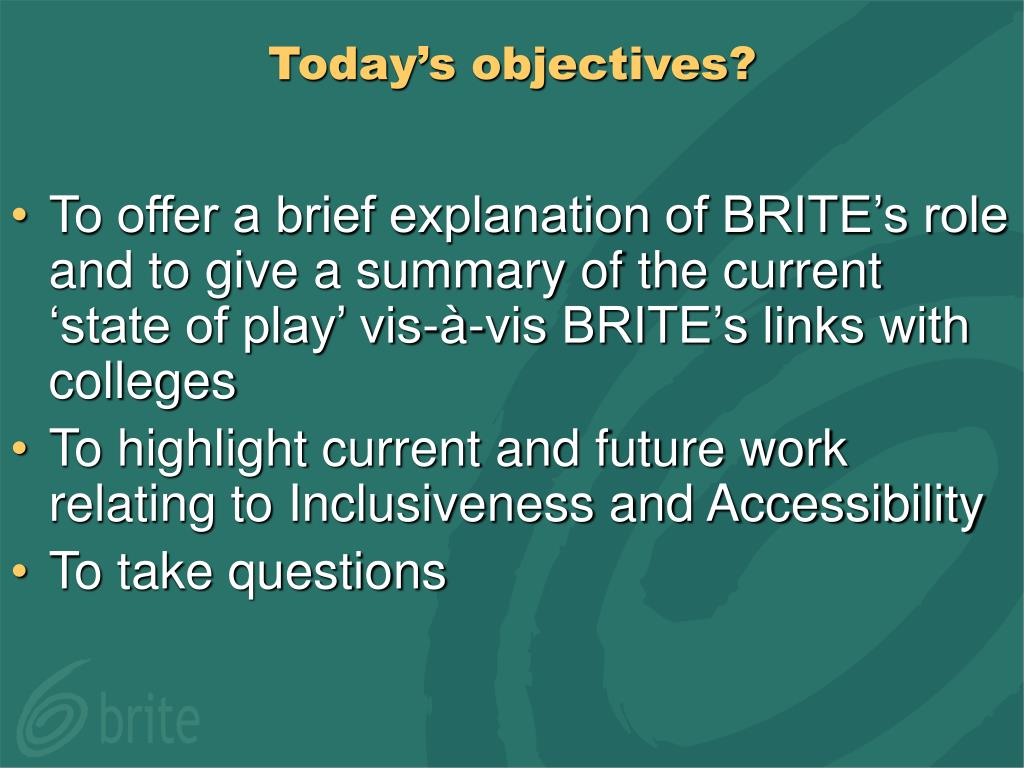 Today's objectives?
