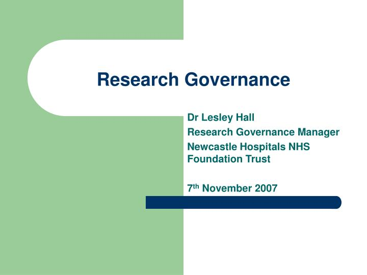 research governance n.