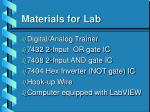 materials for lab