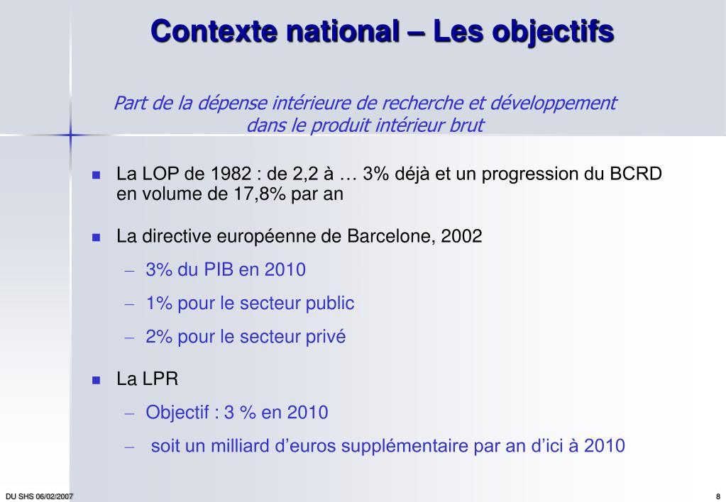 Contexte national – Les objectifs