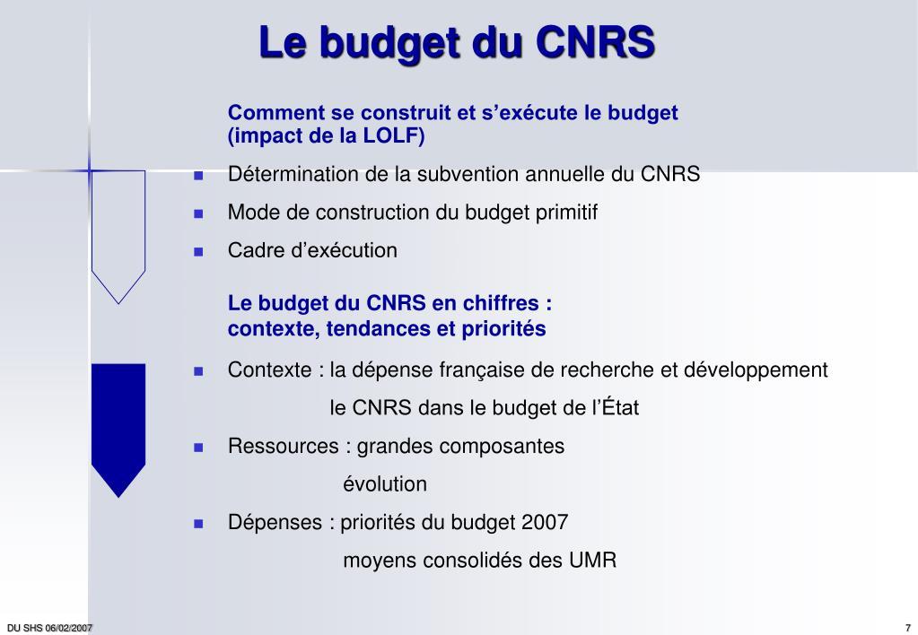 Le budget du CNRS