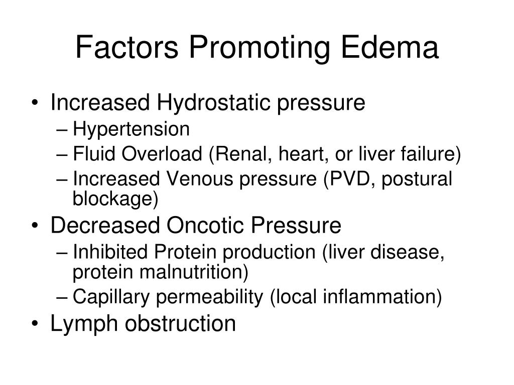 Factors Promoting Edema