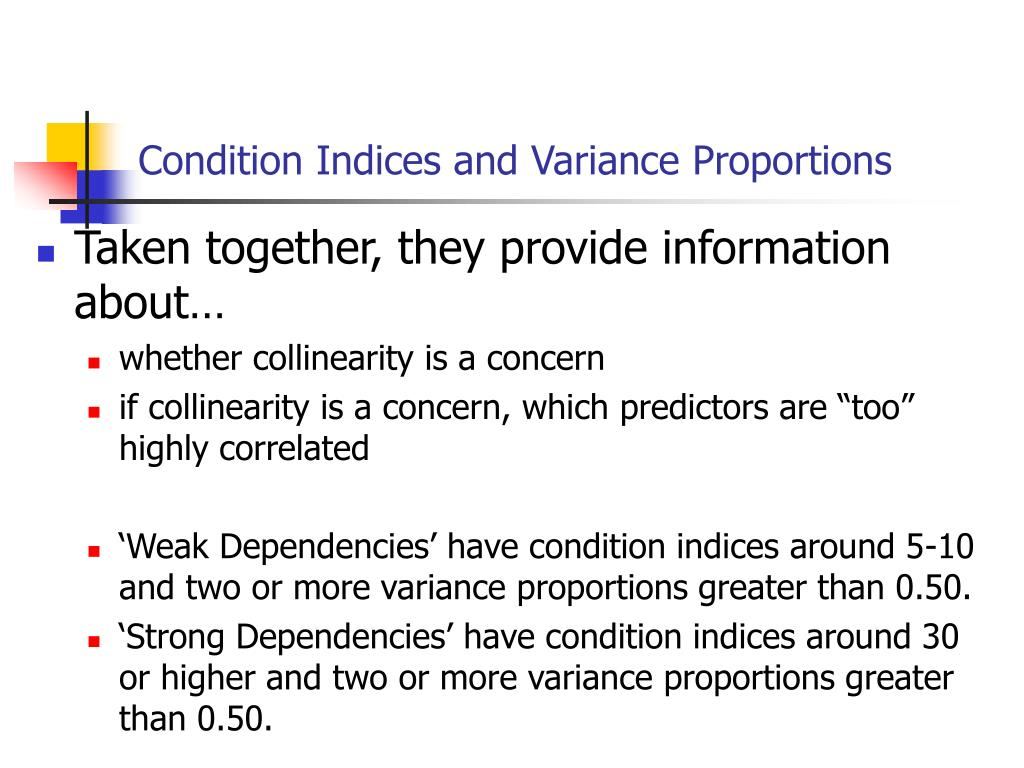 Condition Indices and Variance Proportions