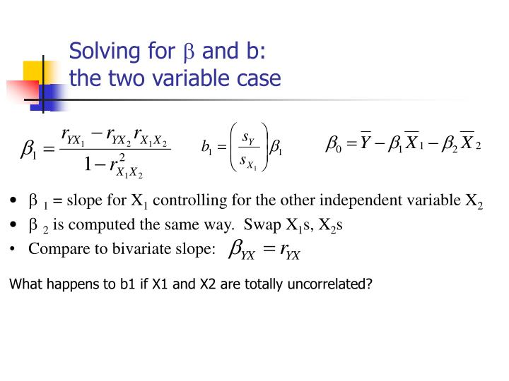 Solving for and b the two variable case