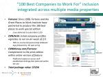 100 best companies to work for inclusion integrated across multiple media properties