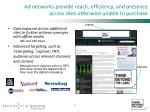 ad networks provide reach efficiency and presence across sites otherwise unable to purchase