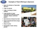 examples of team offerings to sponsors