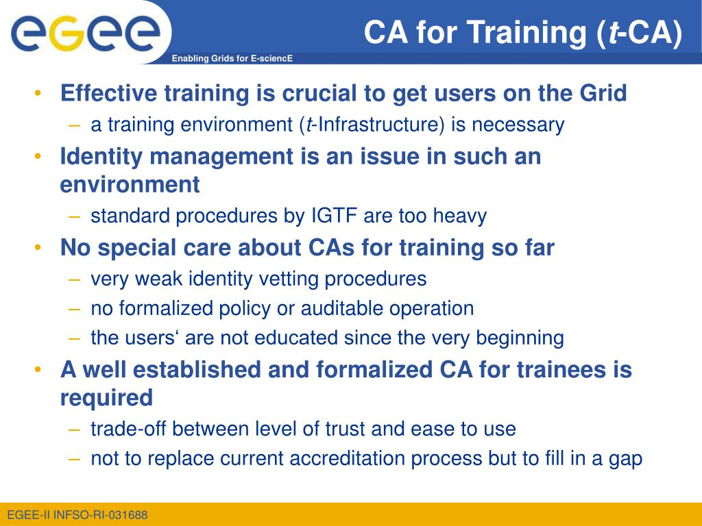 CA for Training (